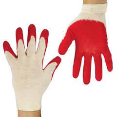 Перчатки хлопчатобумажные ЛАЙМА ЛЮКС, комплект 5 пар, латексная обливная ладонь, 40-44 г, 100 текс