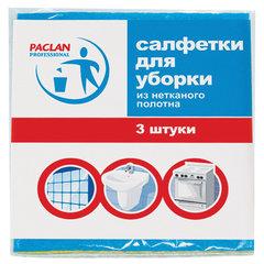 Салфетки универсальные, 30х38 см, КОМПЛЕКТ 3 шт., 90 г/м2, вискоза, PACLAN Professional