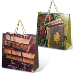 Пакет подарочный ламинированный, 38х38х16 см, книги