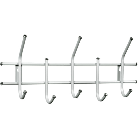 "Вешалка настенная ""Стандарт 2/5"", 280х600х110 мм, 5 крючков, металл, белая"