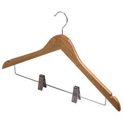 """Вешалки-плечики, размер 48-50, КОМПЛЕКТ 3 шт., деревянная, клипсы для брюк, цвет сосна, BRABIX """"Стандарт"""""""