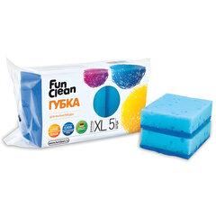 Губки бытовые для мытья посуды, комплект 5 шт., чистящий слой, 2,5х10х7 см, FUN CLEAN, XL