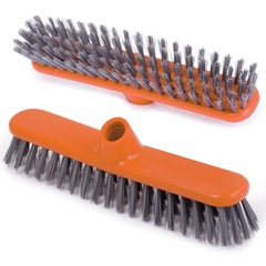 """Щетка для уборки """"Шробер"""", ширина 27 см, высота щетины 3,5 см, пластик, оранжевая (черенок 601322), IDEA"""