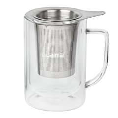 """Кружка для заваривания чая/кофе ЛАЙМА """"Молли"""", 300 мл, жаропрочное стекло/нержавеющая сталь"""