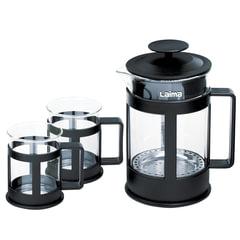 """Набор WALTZ / ЛАЙМА """"Утро"""", френч-пресс 800 мл + 2 стакана 200 мл, жаропрочное стекло/пластик, черный"""