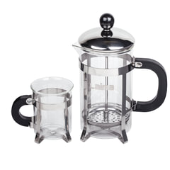 """Набор WALTZ / ЛАЙМА """"Классик"""", френч-пресс 600 мл + 2 стакана, 200 мл + ложка, жаропрочное стекло/пластик/нержавеющая сталь"""