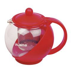 """Заварник (чайник) WALTZ / ЛАЙМА """"Бергамот"""", 750 мл, стекло/пластик/фильтр - нержавеющая сталь, красный"""
