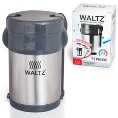 Термос WALTZ / ЛАЙМА пищевой с широким горлом, 2 л, нержавеющая сталь, + ложка, вилка, 3 чашки