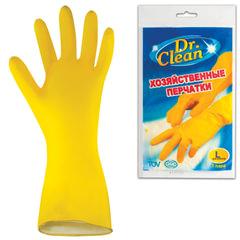 Перчатки хозяйственные латексные DR.CLEAN (Доктор Клин), без х/б напыления, размер L (большой)
