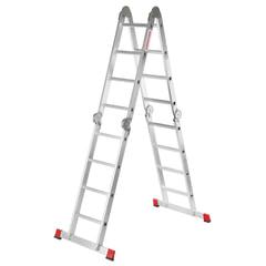 Лестница-трансформер 4х4 ступени, высота 4,52 м (4 секции по 1,2 м), алюминиевая, вес 16,5 кг