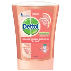 """Картридж с жидким мылом 250 мл, DETTOL (Детол) """"Грейпфрут"""", антибактериальный, диспенсер 601998"""