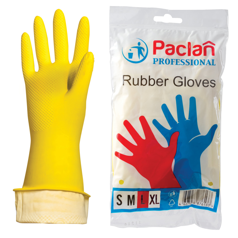 Перчатки хозяйственные латексные, х/б напыление, размер L (большой), желтые, PACLAN Professional