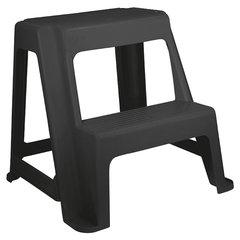 Стремянка-табурет, 2 ступени, стационарная, пластиковая, нагрузка 120 кг, вес 2,4 кг, серая/графит, IDEA