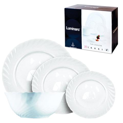 """Набор посуды столовый """"Trianon"""", 19 предметов, белое стекло, LUMINARC"""