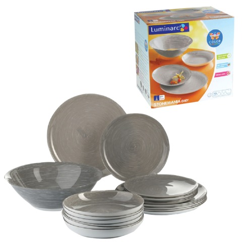 """Набор посуды столовый """"Stonemania Grey"""", 19 предметов, серый, LUMINARC"""