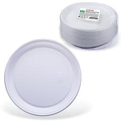 """Одноразовые тарелки десертные, КОМПЛЕКТ 100 шт., пластик, d=170 мм, """"СТАНДАРТ"""", белые, ПП, холодное/горячее, ЛАЙМА, 602648"""