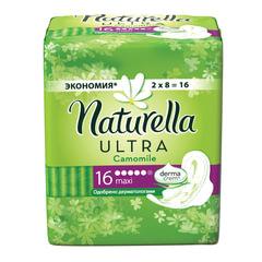 Прокладки женские гигиенические NATURELLA (Натурелла) Ultra Camomile Maxi, КОМПЛЕКТ 16 шт.