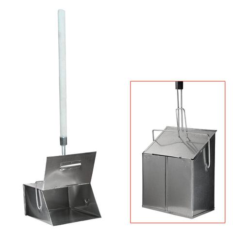 Совок для мусора металлический, с крышкой-ловушкой, 24х29 см, с деревянной ручкой 75 см