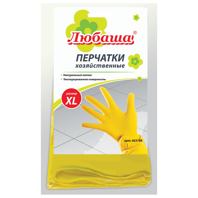 Перчатки хозяйственные латексные ЛЮБАША ЭКОНОМ, МНОГОРАЗОВЫЕ, хлопчатобумажное напыление, размер XL (очень большой)