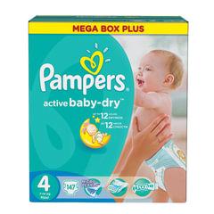 Подгузники 147 шт., PAMPERS (Памперс) Active Baby, размер 4 (7-14 кг)