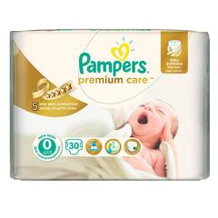 Подгузники 30 шт., PAMPERS (Памперс) Premium Care Newborn, размер 0 (до 2,5 кг)