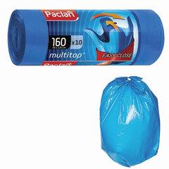 "Мешки для мусора, 160 л, комплект 10 шт., рулон, ПВД, 90х125 см, 30 мкм, с ушками, синие, PACLAN ""Multitop"""
