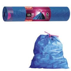 "Мешки для мусора, 120 л, комплект 10 шт., рулон, ПВД, 74х96 см, 39 мкм, с завязками, синие, PACLAN ""Premium"""