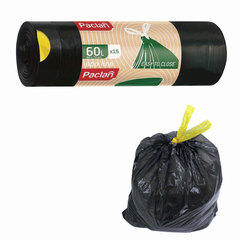 "Мешки для мусора, 60 л, комплект 15 шт., рулон, ПВД, 60х72 см, 25 мкм, с завязками, черные, PACLAN ""Eco Line"""