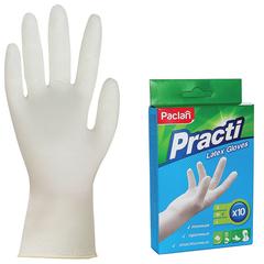 """Перчатки хозяйственные латексные, одноразовые, 5 пар (10 штук), размер М (средний), PACLAN """"Practi"""""""