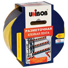 Клейкая лента разметочная 50 мм х 50 м, желто-черная, UNIBOB, основа-ПВХ, европодвес