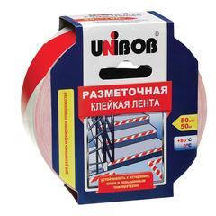 Клейкая лента разметочная 50 мм х 50 м, красно-белая, UNIBOB, основа-ПВХ, европодвес