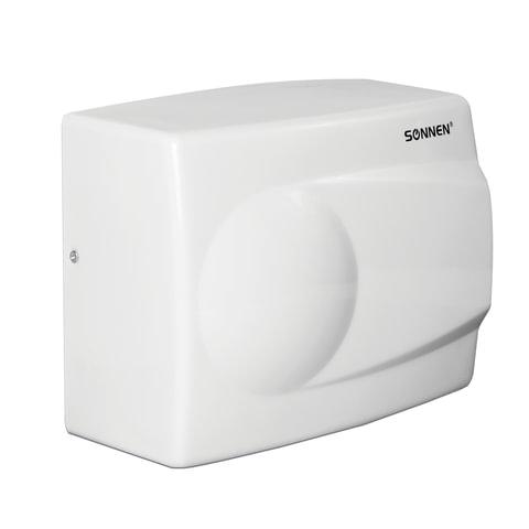 Сушилка для рук SONNEN HD-298, 1500 Вт, скорость потока 8 м/с, металл, белая