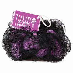 """Мочалка для тела, нейлон, 42 г, 10х10х10 см, черно-розовая, """"Шар премиум"""", TIAMO """"Original"""""""