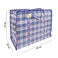 Сумка-баул хозяйственная, полипропилен, 60х50х30 см, 90 литров, сине-красная, 150 г/м2, ЛЮБАША
