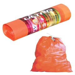 """Мешки для мусора 60 л, с завязками, оранжевые, в рулоне 15 шт., ПВД, 20 мкм, 75х60 см, особо прочные, КОНЦЕПЦИЯ БЫТА """"Ultra"""""""