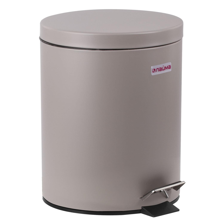 """Ведро-контейнер для мусора (урна) с педалью ЛАЙМА """"Classic"""", 12 л, серое, матовое, металл, со съемным внутренним ведром, 604944"""