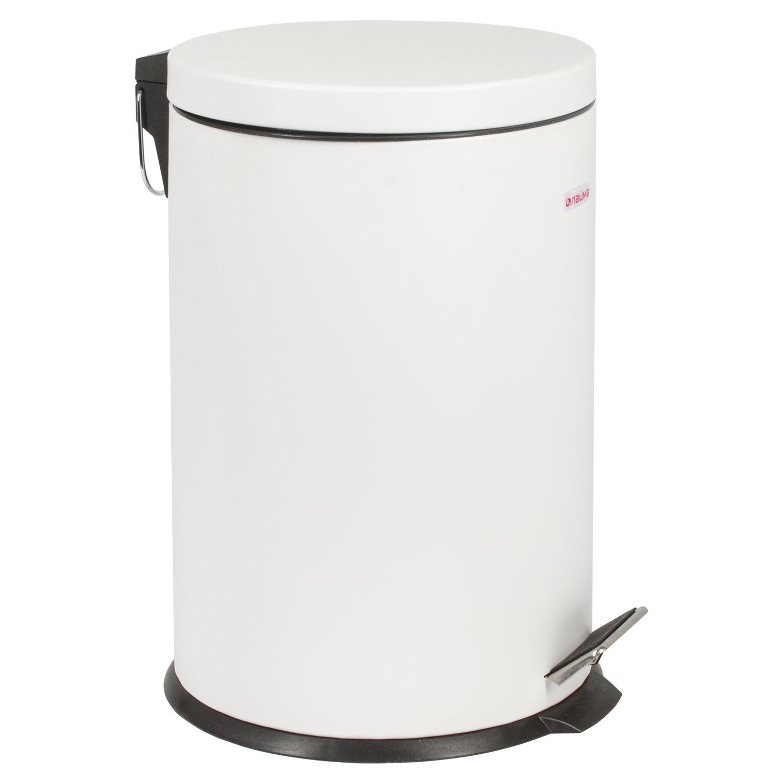 """Ведро-контейнер для мусора (урна) с педалью ЛАЙМА """"Classic"""", 20 л, белое, глянцевое, металл, со съемным внутренним ведром, 604949"""