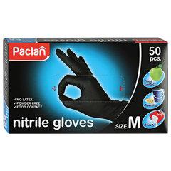 Перчатки нитриловые, КОМПЛЕКТ 25 пар (50 шт.), неопудренные, размер M (средний), ЧЕРНЫЕ, PACLAN