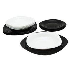 """Набор посуды столовый, 18 предметов, черное и белое стекло, """"Carine Mix"""", LUMINARC"""
