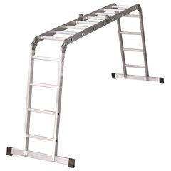 Лестница-трансформер алюминиевая 4х4 ступеней, высота 4,5 м (4 секции по 1,27 м), нагрузка 150 кг, вес 12,9 кг