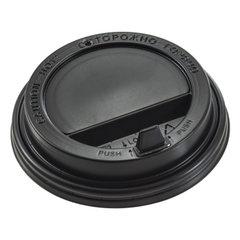 Одноразовые крышки для стакана 300 мл (d-90), КОМПЛЕКТ 100 шт., клапан-носик, черные, ФОРМАЦИЯ, CH-90FB-A