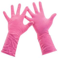 """Перчатки хозяйственные латексные, хлопчатобумажное напыление, разм L (средний), розовые, PACLAN """"Practi Comfort"""""""