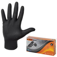 Перчатки нитриловые повышенной прочности, КОМПЛЕКТ 25 пар, размер L (большой), E-DUO, черные