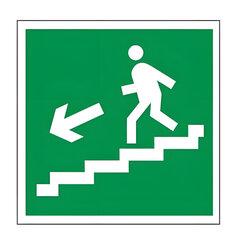 "Знак эвакуационный ""Направление к эвакуационному выходу по лестнице НАЛЕВО вниз"", квадр 200х200 мм"