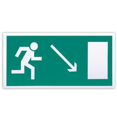"""Знак эвакуационный """"Направление к эвакуационному выходу направо вниз"""", 300х150 мм, самоклейка"""