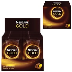 "Кофе молотый в растворимом NESCAFE ""Gold"", сублимированный, 20 пакетов по 2 г (упаковка 40 г)"