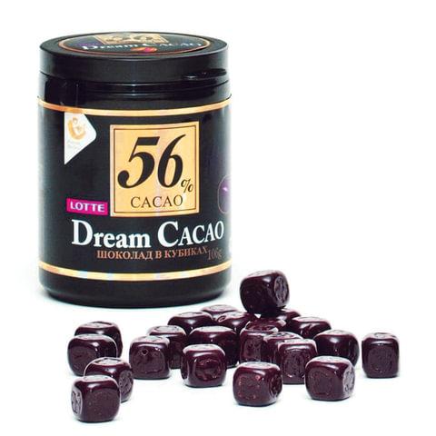 """Шоколад LOTTE """"Dream Cacao"""", горький (какао 56%), в кубиках, в пластиковой банке, 106 г"""