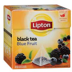 """Чай LIPTON (Липтон) """"Blue Fruit"""", черный с ежевикой, смородиной и черникой, 20 пирамидок по 2 г"""