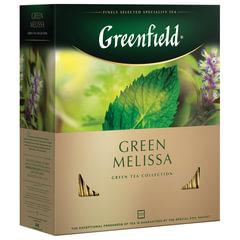 """Чай GREENFIELD (Гринфилд) """"Green Melissa"""", зеленый, с мятой, 100 пакетиков в конвертах по 1,5 г"""