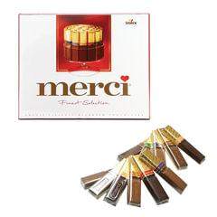 Конфеты шоколадные MERCI, ассорти, 250 г, картонная коробка